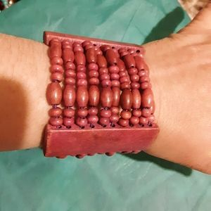 Multi stranded beaded wooden bracelet